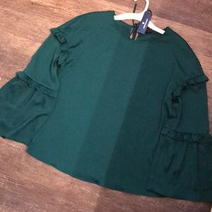 Green puffy sleeve blouse